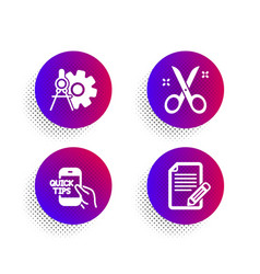 Scissors cogwheel dividers and education icons vector