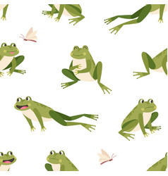 seamless childish pattern with cute green frogs vector image