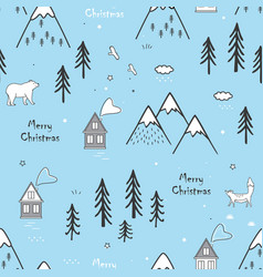 Seamless winter hand drawn pattern with snow vector