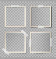set beige square photo card frames vector image