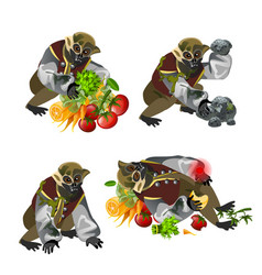 Set fantasy zombie monkey isolated on white vector