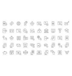 set line icons online banking vector image