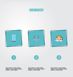 Set of business icons flat style symbols with vector