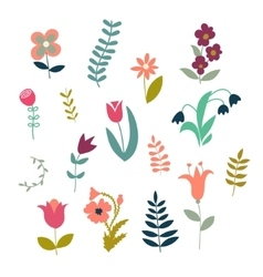 Set of simple cute plants and flowers vector image