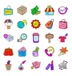 Shopping and e commerce doodle icons pack vector