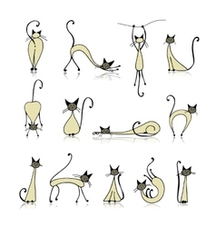 Siamese cats collection sketch for your design vector image