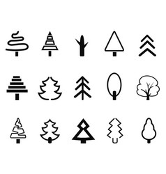 simple tree icons set vector image
