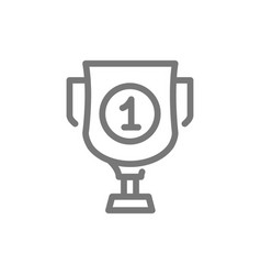 simple trophy and award cup line icon symbol and vector image