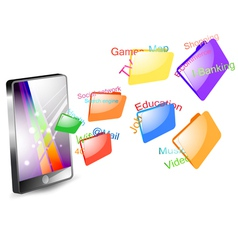 Social network on smartphone vector