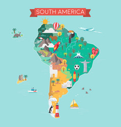 South america tourist map vector