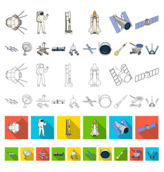 space technology cartoon icons in set collection vector image