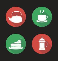 tea and coffee flat design long shadow icons set vector image