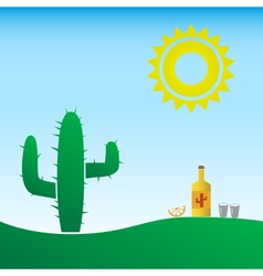 Tequila bottle in the mexico with sun and cactus vector