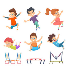 trampoline kids playground childrens active vector image