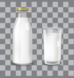 transparent glass bottle and a glass milk vector image