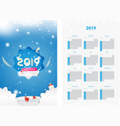 two-sided calendar for the new year 2019 with gift vector image