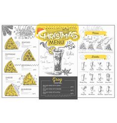 Vintage christmas menu design restaurant menu vector