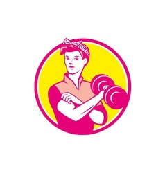 Vintage Woman Lifting Dumbbell Circle Retro vector
