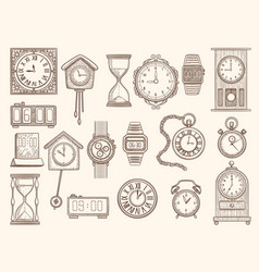 watches set drawing clocks timers alarms vector image