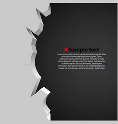 white broken wall on dark background vector image