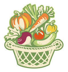 wicker basket full fresh harvest vegetables vector image