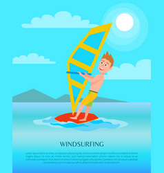 windsurfing summer sport activity poster male vector image
