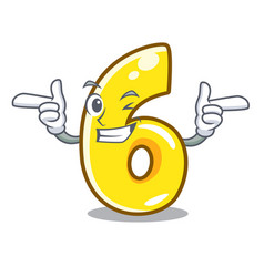 Wink cartoon number six on the road vector