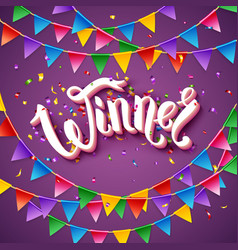 Winner announcement stationery on purple vector