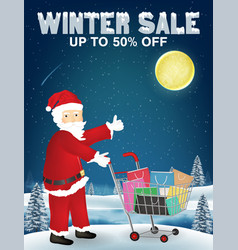 winter sale santa claus and shopping cart with bag vector image