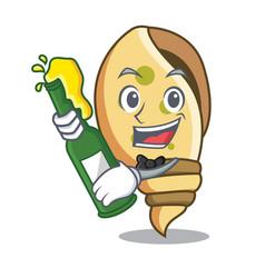 With beer sea shell mascot cartoon vector