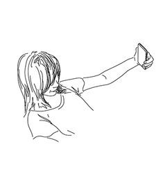 Women with smart phone vector