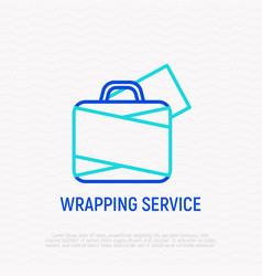 Wrapping service for luggage thin line icon vector