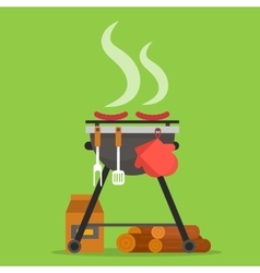Barbecue Grill with tools and firewood vector image vector image
