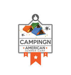 camping logo with tents vector image vector image