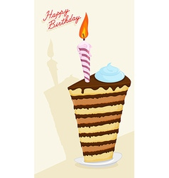 Cartoon High cake Happy birthday postcard vector image