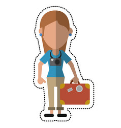 cartoon tourist girl travel map and suitcase vector image vector image