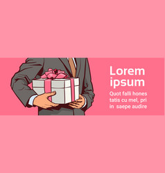 hands of business man hold gift present box with vector image