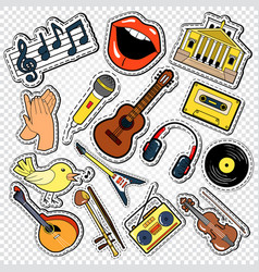 music doodle with guitar microphone vector image vector image