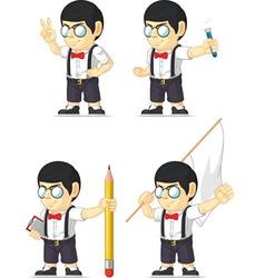 Nerd Boy Customizable Mascot 12 vector image