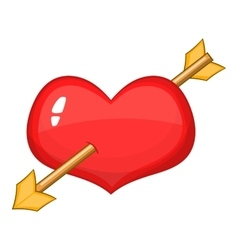 Red heart with arrow icon cartoon style vector