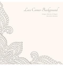 Vintage lacy corner ornament vector image