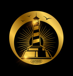 vintage nautical label with lighthouse vector image