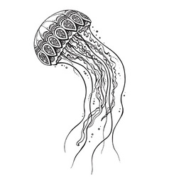 Hand drawn jellyfish in black and white doodle vector image vector image