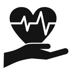Hand holding heart with ecg line icon simple style vector image