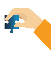 hands human with puzzle game pieces isolated icon vector image vector image