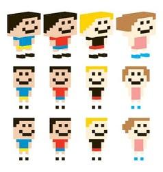 Pixel Art Kids Character Design vector image