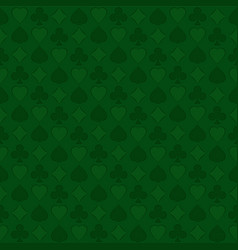 seamless pattern with playing card suits on green vector image