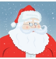 Smiling Santa Claus pointing at you snowflakes in vector image