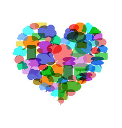 colorful speech bubble heart vector image vector image