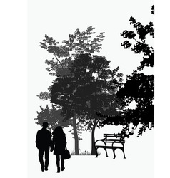 couple walking in the park vector image